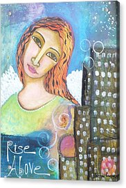 Acrylic Print featuring the painting Rise Above Because You Are An Angel by Prerna Poojara