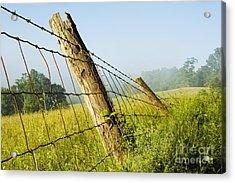 Rising Mist With Falling Fence Acrylic Print by Thomas R Fletcher