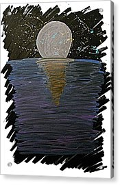 Acrylic Print featuring the drawing Rising Moon by Bee-Bee Deigner
