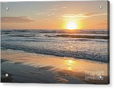 Rising Sun Reflecting On Wet Sand With Calm Ocean Waves In The B Acrylic Print