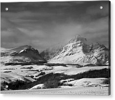 Rising Wolf Mountain- Winter - Black And White Acrylic Print