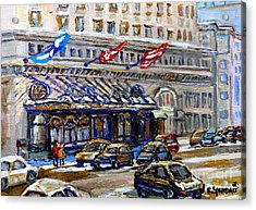Ritz Carlton Paintings Montreal Memories 3 Flags Rue Sherbrooke Best Canadian Original Art For Sale  Acrylic Print by Carole Spandau