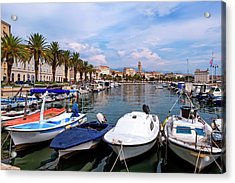 Riva Waterfront, Houses And Cathedral Of Saint Domnius, Dujam, Duje, Bell Tower Old Town, Split, Croatia Acrylic Print by Elenarts - Elena Duvernay photo