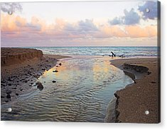 River And Sunrise- St Lucia Acrylic Print by Chester Williams