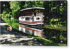 Acrylic Print featuring the digital art River Boat With Welsh Corgi by Kathy Kelly