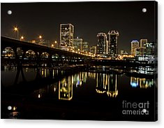 River City Lights At Night Acrylic Print by Tim Wilson