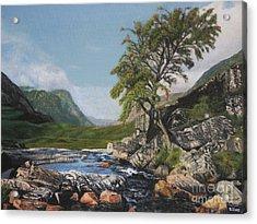River Coe Scotland Oil On Canvas Acrylic Print