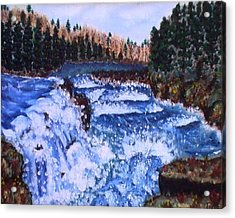 River Falls Acrylic Print by Tanna Lee M Wells