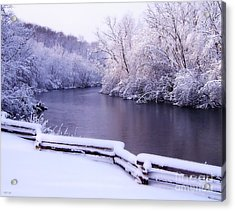 River In Winter Acrylic Print by Phil Perkins