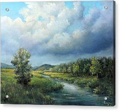Acrylic Print featuring the painting River Landscape Spring After The Rain by Katalin Luczay