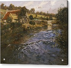 River Landscape With A Washerwoman  Acrylic Print by Fritz Thaulow