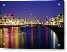 River Liffey In Dublin At Dusk Acrylic Print