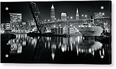 River Lights In Black And White Acrylic Print by Frozen in Time Fine Art Photography