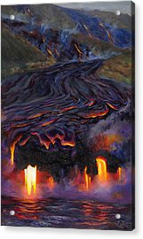 River Of Fire - Kilauea Volcano Eruption Lava Flow Hawaii Contemporary Landscape Decor Acrylic Print