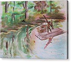 River Rafting Acrylic Print by Remegio Onia