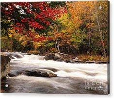 River Rapids Fall Nature Scenery Acrylic Print by Oleksiy Maksymenko