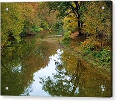 River Reflection Autumn Sunday Acrylic Print by Terry  Wiley
