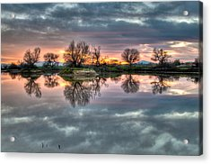 River Reflection Sunrise Acrylic Print