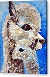 Acrylic Print featuring the painting River Ridge Alpaca by Patty Sjolin