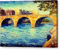 Acrylic Print featuring the painting River Seine Bridge by Gail Kirtz