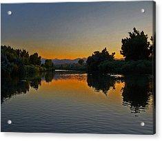 River Sunset Acrylic Print by Ernie Echols