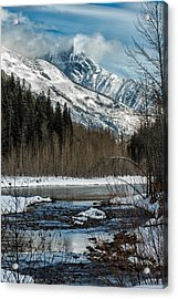 River To Peaks Glacier National Park Acrylic Print