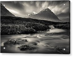 River To The Buachaille Acrylic Print by Dave Bowman