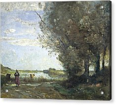 River View Acrylic Print by Jean-Baptiste-Camille Corot