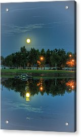 River Walk Park Full Moon Reflection 2 Acrylic Print