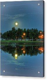 River Walk Park Full Moon Reflection 2 Acrylic Print