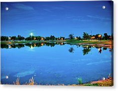 River Walk Park Full Moon Reflection 3 Acrylic Print