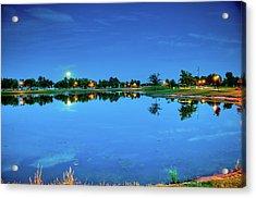 River Walk Park Full Moon Reflection 3 Acrylic Print