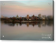 Riverfront At Dusk Acrylic Print by Debra Straub