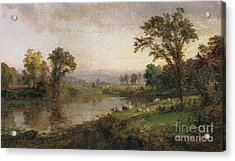 Riverscape In Early Autumn Acrylic Print by Jasper Francis Cropsey