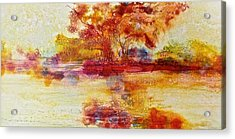 Riverscape In Red Acrylic Print