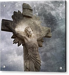 Riverside Cemetery Cross Acrylic Print by Gia Marie Houck