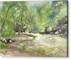 Acrylic Print featuring the painting Riverside Park by Yolanda Koh