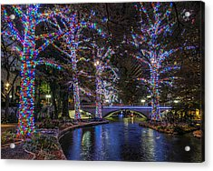 Acrylic Print featuring the photograph Riverwalk Christmas by Steven Sparks