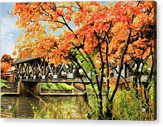 Acrylic Print featuring the painting Riverwalk Covered Bridge by Christopher Arndt