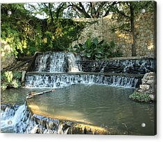 Riverwalk Waterfall Acrylic Print by Dennis Stein