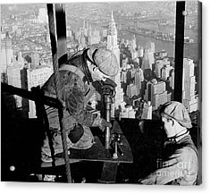 Riveters On The Empire State Building Acrylic Print by LW Hine