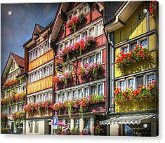 Acrylic Print featuring the photograph Row Of Swiss Houses by Hanny Heim