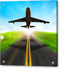 Road And Plane Acrylic Print by Setsiri Silapasuwanchai
