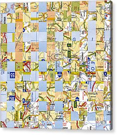 Acrylic Print featuring the mixed media Road Map by Jan Bickerton
