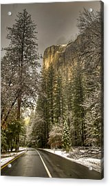 Road To El Capitan After Snow Storm At Sunrise Acrylic Print