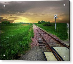Road Track Crossing Acrylic Print