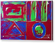 Roadside And Road Signs Abstract Acrylic Print by Joan-Violet Stretch