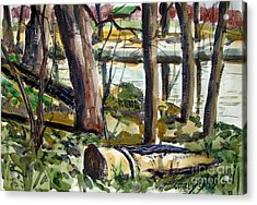 Acrylic Print featuring the painting Roadside Park Along The Wabash River by Charlie Spear