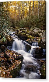 Roaring Fork Waterfall At Autumn Acrylic Print by Andrew Soundarajan