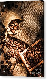 Roasted Coffee Beans In Drawer And Bags On Table Acrylic Print by Jorgo Photography - Wall Art Gallery